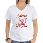 Andrea On Fire Women's V-Neck T-Shirt