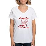 Angela On Fire Women's V-Neck T-Shirt