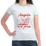 Angela On Fire Jr. Ringer T-Shirt