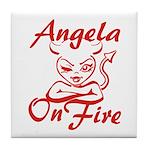 Angela On Fire Tile Coaster