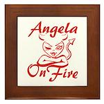 Angela On Fire Framed Tile