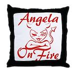 Angela On Fire Throw Pillow