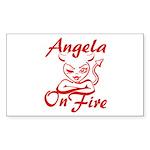 Angela On Fire Sticker (Rectangle)