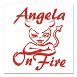 Angela On Fire Square Car Magnet 3
