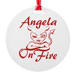 Angela On Fire Round Ornament