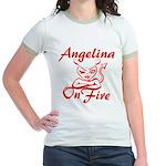 Angelina On Fire Jr. Ringer T-Shirt
