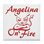 Angelina On Fire Tile Coaster