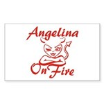 Angelina On Fire Sticker (Rectangle)