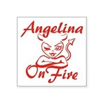 Angelina On Fire Square Sticker 3