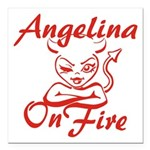 Angelina On Fire Square Car Magnet 3