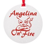 Angelina On Fire Round Ornament