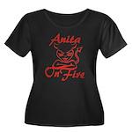 Anita On Fire Women's Plus Size Scoop Neck Dark T-