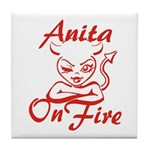 Anita On Fire Tile Coaster