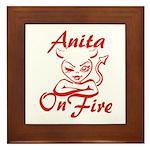 Anita On Fire Framed Tile