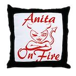 Anita On Fire Throw Pillow