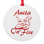 Anita On Fire Round Ornament