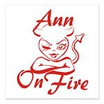 Ann On Fire Square Car Magnet 3