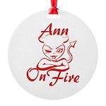 Ann On Fire Round Ornament