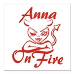 Anna On Fire Square Car Magnet 3