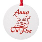 Anna On Fire Round Ornament