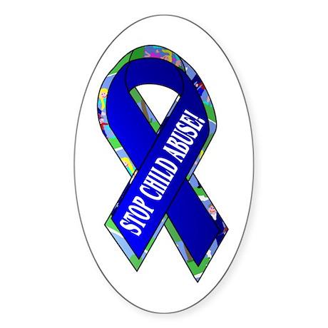 Child Abuse Awareness Oval Sticker