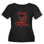 Ariel On Fire Women's Plus Size Scoop Neck Dark T-