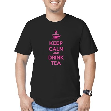 Keep calm and drink tea Men's Fitted T-Shirt (dark