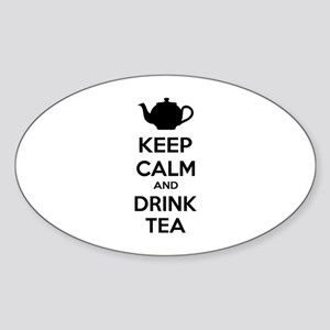 Keep calm and drink tea Sticker (Oval)