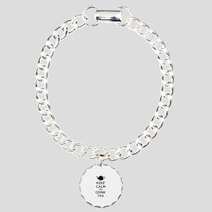 Keep calm and drink tea Charm Bracelet, One Charm