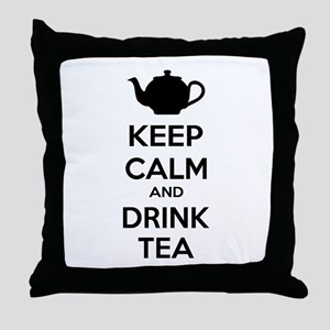 Keep calm and drink tea Throw Pillow