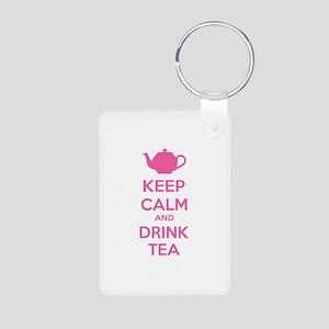 Keep calm and drink tea Aluminum Photo Keychain