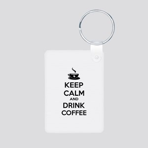 Keep calm and drink coffee Aluminum Photo Keychain