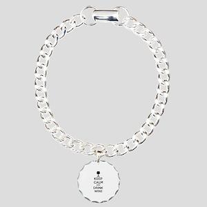 Keep calm and drink wine Charm Bracelet, One Charm