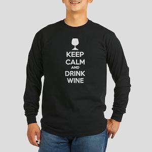 Keep calm and drink wine Long Sleeve Dark T-Shirt