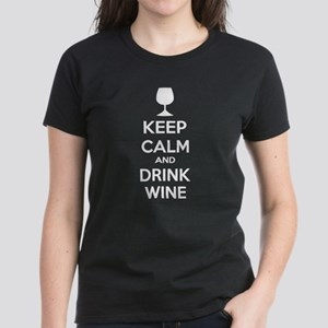 Keep calm and drink wine Women's Dark T-Shirt