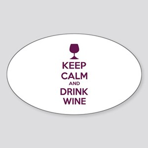 Keep calm and drink wine Sticker (Oval)
