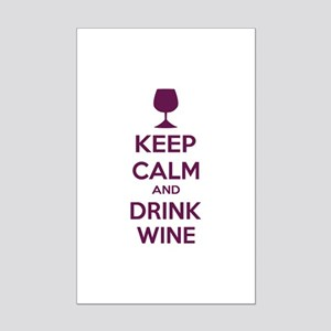 Keep calm and drink wine Mini Poster Print