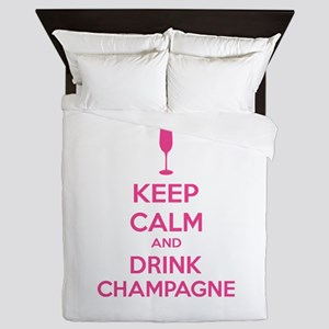 Keep calm and drink champagne Queen Duvet