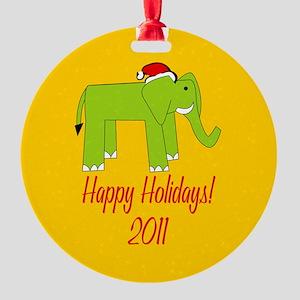 Elephant Happy Holidays! Round Ornament