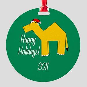 Camel Happy Holidays! Round Ornament