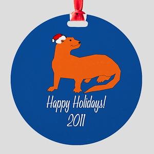 Ferret Happy Holidays! Round Ornament