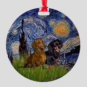 Two Dachshunds in Starry Night Keepsake (Round)