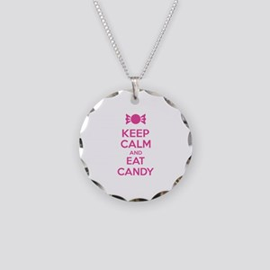 Keep calm and eat candy Necklace Circle Charm