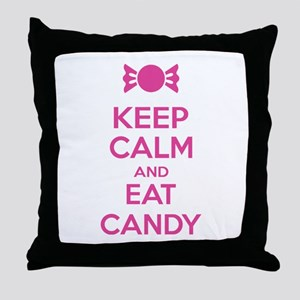 Keep calm and eat candy Throw Pillow