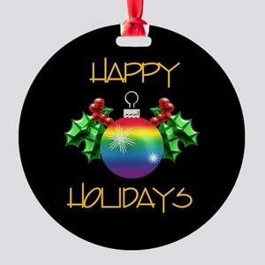 Happy Holidays Rainbow Ornament (Round)