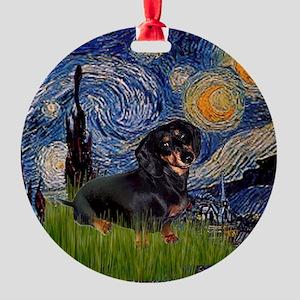 Dachshund in Starry Night Ornament (Round)