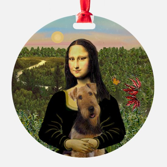 Mona Lisa's Airedale Ornament (Round)