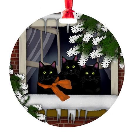 BLACK CATS WINTER WINDOW Ornament (Round)