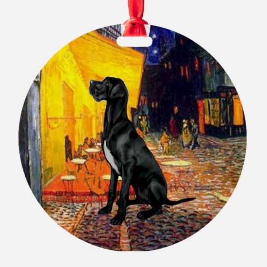 Cafe & Black Great Dane Ornament (Round)