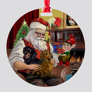 Santa and his two Doxies Ornament (Round)